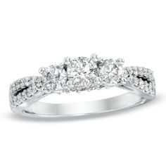 1 CT. T.W. Diamond Three Stone Engagement Ring in 14K White Gold - Zales