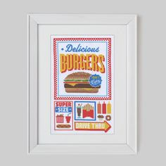 Fast Food Cross Stitch Sampler Pattern Digital by Stitchrovia, £10.50