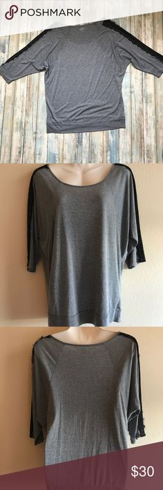 Gray LOFT Shirt With Black Lace Worn once, this Gray LOFT Shirt With Black Lace is in perfect condition! LOFT Tops