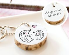 Fathers Day Gift PERSONALIZED Dad Hedgehog Keychain Grandpa Grandparent Gift from Kid Gift from Baby Custom Cute Wood Keyring Eco Friendly