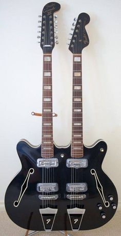 Fender Coronado Doubleneck XII + VI semi-hollow-body one-off prototype in jet black   Hubba hubba!!!