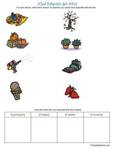 Printable Spanish FREEBIE of the Day: ¿Qué Estación del Año? Seasons in Spanish worksheet from PrintableSpanish.com