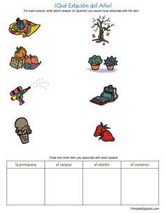 Printable Spanish FREEBIE of the Day: ¿Qué Estación del Año? Seasons in Spanish worksheet from PrintableSpanish.com