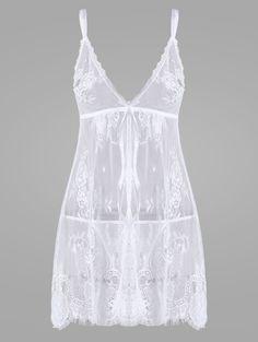 Lace Sheer Split Slip Babydoll - WHITE XL