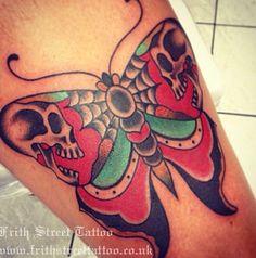 skull - Butterfly skull -Butterfly skull - Butterfly skull - Stefano C. Time Tattoos, Small Tattoos, Sleeve Tattoos, Cool Tattoos, Tatoos, Traditional Butterfly Tattoo, Traditional Style Tattoo, Traditional Ideas, Skull Butterfly Tattoo