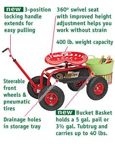 to physical ailments, my sister Terry and my Daddy sure have a rough time motivating in the garden. This looks like it could certainly help them out, love the swivel seat, bucket holder.