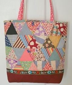 Bag made from a very old quilt top -- another use for scraps of great-grandmother's quilt??