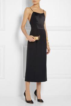 Adam Lippes|Satin-paneled silk-crepe midi dress|NET-A-PORTER.COM