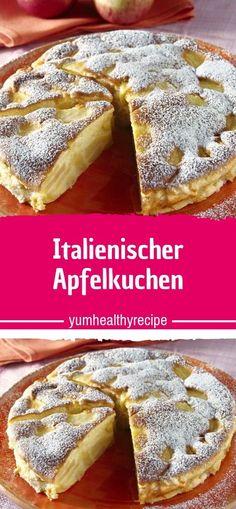Zutaten: 5 Apfel sauer 100 g Butter flüssig 2 Eier mittelgroß 250 g Zucker 1 Pck. Vanille-Zucker 100 g Weizenmehl Zitronensaft 0,5 Pck. Backpulver 100 ml Milch Butter zum Einfetten Mehl zum Ausstreuen Puderzucker zum Bestäuben  Zubereitung: 1.Äpfel schälen, vierteln und das Kerngehäuse entfernen. Dann die Viertel in sehr dünne Scheiben hobeln und gleich mit Zitronensaft beträufeln. 2.Alle anderen Zutaten in eine große Rührschüssel geben und mit einem Schneebesen gründlich aber langsam…