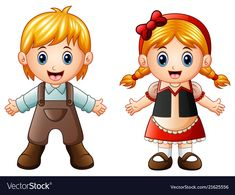 Hansel And Gretel Stock Vector - Illustration of fairy, couple: 102834107 Hansel And Gretel House, Hansel Y Gretel, Pictures To Draw, Cute Pictures, Kids Stickers, Stories For Kids, Portfolio, Illustrations, Paper Dolls