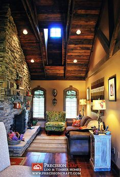 The Master Bedroom Sitting Area | Hybrid Log & Timber Home by PrecisionCraft Log Homes & Timber Frame, via Flickr