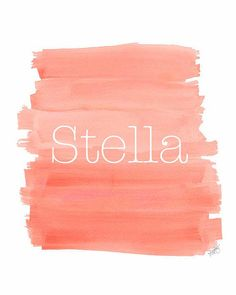 Coral Nursery Art Ombre Art Customized Name Dip Dyed Watercolor Print  Personalized Baby Gift Modern Nursery on Etsy, $18.00