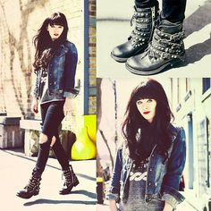 Ash Footwear Rebel Boot, Asos Jeans (I had me a denim jacket) Hipster Outfits, Edgy Outfits, Cute Outfits, Punk Fashion, Grunge Fashion, Girl Fashion, Fashion Hats, Rock Style, Her Style