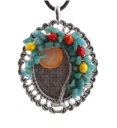 Tree of Life Healing Natural Gemstone Moon Wire Wrap Handmade Pendant Necklace…