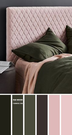Pink Green Bedrooms, Green Bedroom Colors, Dusty Pink Bedroom, Rose Bedroom, Bedroom Colour Palette, Bedroom Color Schemes, Green Rooms, Colour Schemes, Bedroom Decor