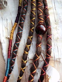 5 Custom Dreads Hair Wraps  Beads Bohemian door PurpleFinchStore, $35.00 :: Shop DreadStop.Com for Leather Dreadlock Cuffs, Ties  Dread Beads #dreadstop