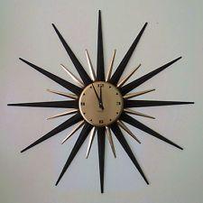 Vintage Westclox Starburst Sunburst Gold Black Mid Century MCM Working Clock Wall Clocks, Black Gold, Decorating Ideas, Mid Century, Ebay, Furniture, Vintage, Chiming Wall Clocks, Home Furnishings