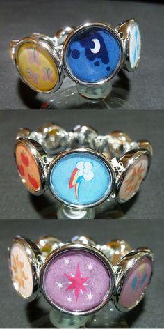 MLP cutie mark bracelet. Buy it here! http://monostache.storenvy.com/collections/887089-jewelry-bracelets/products/10260534-mlp-handmade-bracelet-featuring-the-mane-6-princess-luna-and-princess-cel