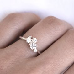 Diamond Cluster ring by 27JEWELRY was handmade from white gold in our jewelry studio in Prague