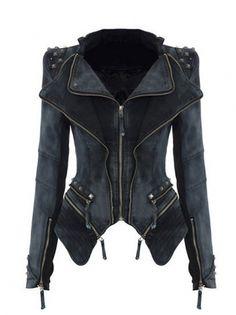 Sweeeet Jacket!  Lapel Rivet Zipper Slim Denim Coat Women Jackets