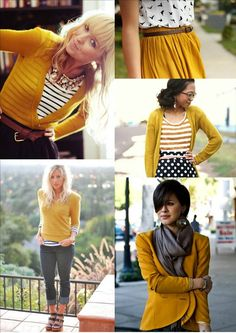 Put white and black blouse under yellow sweater