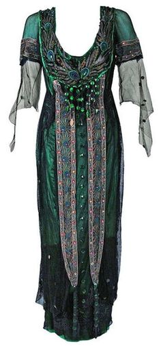 1912 Metzer Couture Edwardian Metallic Embroidered Beaded Peacock Tea Gown