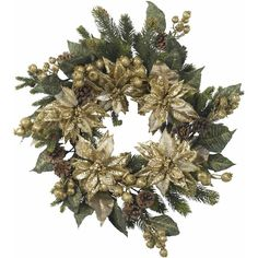 "Nearly Natural 24"" Golden Poinsettia Wreath ($65) ❤ liked on Polyvore featuring home, home decor, holiday decorations, christmas, wreaths, tubes, detail, embellishment, pine cone wreath and pinecone wreath"