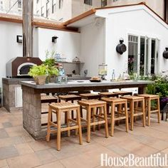lik the built in outdoor table - maybe concrete?