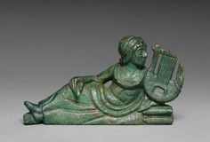 Vessel Ornament of Reclining Lyre-player, probably 400-375 BC Italy, Etruscan, early 4th Century BC