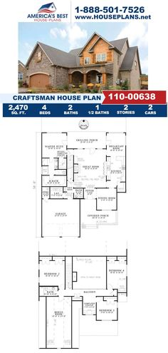 Take a look at this Craftsman design fulfilled with 2,370 sq. ft., 4 bedrooms, 2.5 bathrooms, a computer room, a breakfast nook, and a bonus room. Visit our webpage for more details on Plan 110-00638. Craftsman Style Homes, Craftsman House Plans, Whirlpool Tub, Built In Cabinets, Window View, Walk In Pantry, Architectural Elements, Breakfast Nook, Second Floor