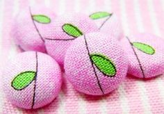 1/2 Inch Fabric Button  Set of 6  Green Leaf and Vines by azhoua, $4.50