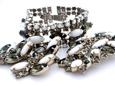 3 Piece Set Peridot Green Milk Glass Rhinestone Bracelet Brooch Earrings Vintage | eBay