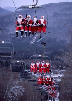 Santas on snowboards!