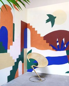 A wall mural like this would be fun for an outdoor nook too Outdoor Wall Paint, Outdoor Walls, Murals Street Art, Space Painting, Mural Painting, Wal Art, Mural Wall Art, Painted Wall Murals, Bedroom Murals