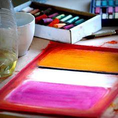 Rothko lesson using chalk pastels on black paper