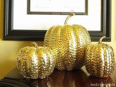 Nice fall craft. thumbtack pumpkins madigan made