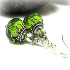 Green Dangle Earrings Vintage Inspired Jewelry Neo by pink80sgirl, $19.00