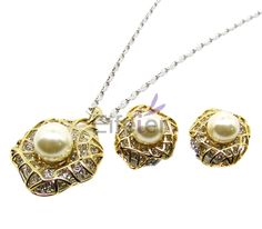 Excellent amazing Punk style jewelry set with ivory pearl and shiny smally stones