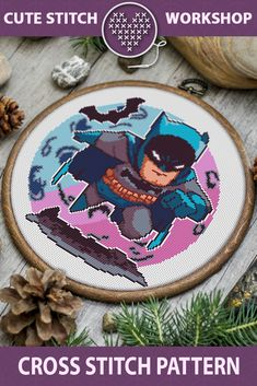 Batman Cross Stitch PDF Pattern for Instant Download.  Embroidery on this cross stitch pattern will be a cute wall decor of the room for the fans of DC comics.  This is a digital cross stitch pattern. The PDF files of the xstitch pattern available for instant download.  #crossstitch #crossstitching #crossstitchpattern #batman   Digital Download included: ? PDF Cross Stitch Pattern in color with black symbols  ? PDF Cross Stitch Pattern in color with white symbols  ? List of DMC thread colors