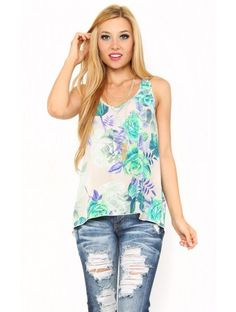 #Floral Shift Woven Top