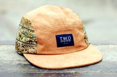 The Worlds Original Face  TWO Face London3rd Edition 5 panel cap, hatRoyal blue box logo,Light tan suede,damask patterned ( side panels vary