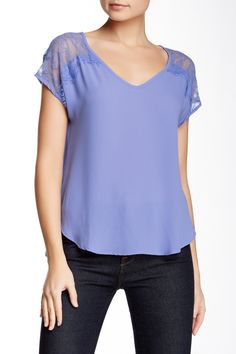 Lace Trim Blouse (Juniors) by Lush on @nordstrom_rack