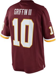 Represent your favorite Washington Redskins player with a Nike NFL Game jersey, inspired by what Robert Griffin III wears on the field and engineered for total comfort. V-neckline with TPU shield at collar Pullover style Short sleeves Screen print graphics Woven jock tag at hem Tailored fit Officially licensed NFL product Nike on-field apparel Polyester Machine washable