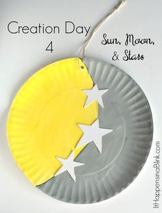 Creation Day Sun, Moon, And Stars A Kid's Craft Centered Around The Fourth Day Of Creation. Incredible For Sunday School, Children's Church, Or Vbs. This Craft Is A Part Of The Craft Through The Bible Series. Sunday School Projects, Sunday School Activities, Bible Activities, Church Activities, Sunday School Lessons, Creation Activities, Bible Story Crafts, Bible School Crafts, Bible Crafts For Kids