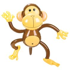 Brown inflatable monkey featuring tail & smiling face made out of high quality rubber ideal inflatable animal for a zoo animal or jungle themed party