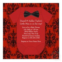 pinterest red and black baby shower invitations | Red Black Damask Baby Boy Shower Custom Invitations