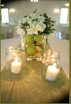 pear centerpiece / candles in mason jars