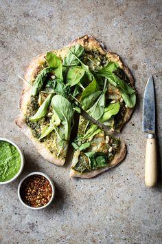 Kohlrabi & Green Olive Pesto Pizza