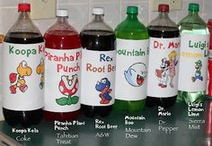 Super Mario Party Drinks. Cute for a boy's birthday party