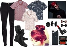 Josh Dun by grantjunepamela featuring hush puppies bootsBonobos floral print oxford / OBEY Clothing short sleeve button down shirt / Maurices pink button shirt / Frame Denim ripped jeans / Hush puppies boots / Bling Jewelry titanium jewellery / Tech accessory, $27 / Black hair accessory, $3.16 / Lips makeup / Matte eyeshadow, $24